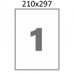 Полуглянцевая этикетка А4 (100 листов) /1/  (210x297 мм)