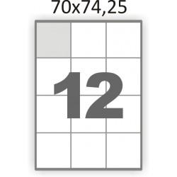 Самоклеющаяся бумага А4 (100 листов) /12/  (70x74,25 мм)