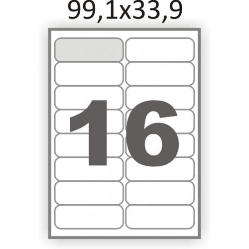 Полуглянцевая этикетка А4 (100 листов) /16/  (99x34мм.) закругленные углы
