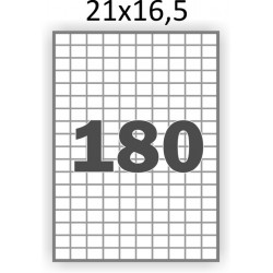 Полуглянцева самоклеющаяся бумага А4 (100 листов) /180/  (21x16,5 мм)