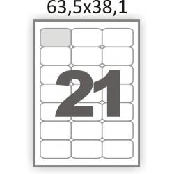 Полуглянцевая самоклеющаяся бумага А4 (100 листов) /21/  (63.5x38.1мм.) закругленные углы