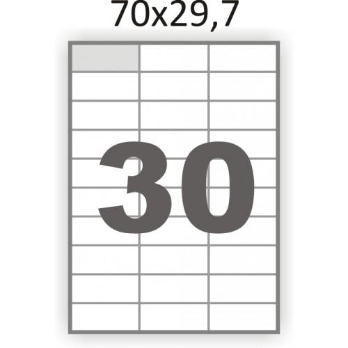 Полуглянцевая этикетка А4 (100 листов) /30/  (70x29,7мм.)