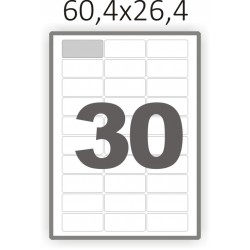 Полуглянцевая этикетка А4 (100 листов) /30 закругленные углы/  (60,4x26,4 мм)