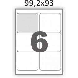 Полуглянцевая этикетка А4 (100 листов) /6 закругленные углы/  (99,2x93 мм)