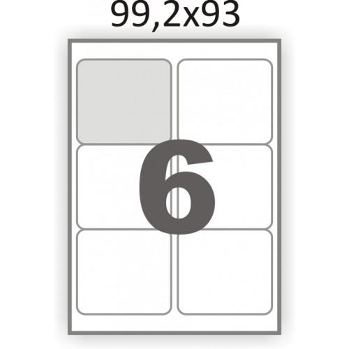 Самоклеющаяся бумага А4 (100 листов) /6/  (99x93мм.) закругленные углы