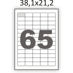 Полуглянцевая этикетка А4 (100 листов) /65 закругленные углы/  (38,1x21,2 мм)