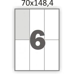 Самоклеющаяся бумага А4 (100 листов) /6/  (70x148,4мм.)