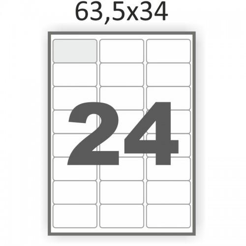Самоклеющаяся бумага А4 (100 листов) /24/  (63,5x34 мм) закругленные углы