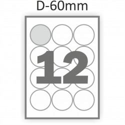 Самоклеющаяся бумага А4 (100 листов) /12/  (фигурная этикетка диаметр 60 мм)