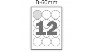 Круг 60 мм – ассортимент этикеток на А4 увеличился