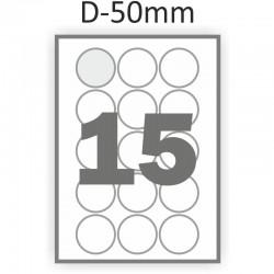 Полуглянцевая этикетка А4 (100 листов) /15/  (круг 50 мм)