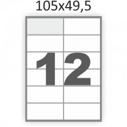 Самоклеющаяся бумага А4 (100 листов) /12/  (105x49,5 мм)