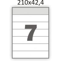 Полуглянцевая этикетка А4 (100 листов) /7 /  (210x42,4 мм)