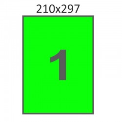 Самоклеющаяся бумага А-4 (100 листов) /зеленая/  (210x297 мм)