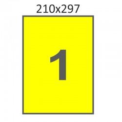Самоклеющаяся бумага А4 (100 листов) /желтая/  (210x297 мм)