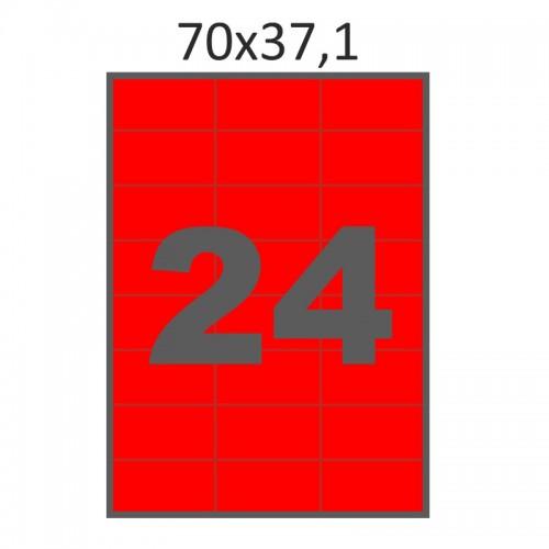 Самоклеющаяся бумага А4 (100 листов) /24/  (70x37 мм) красная