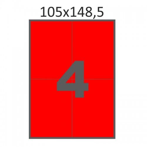 Самоклеющаяся бумага А4 (100 листов) /4/  (105x148 мм) красная