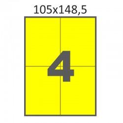 Самоклеющаяся бумага А4 (100 листов) /4/  (105x148 мм) желтая
