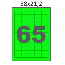 Самоклеющаяся бумага А4 (100 листов) /65/  (38x21 мм) зеленая