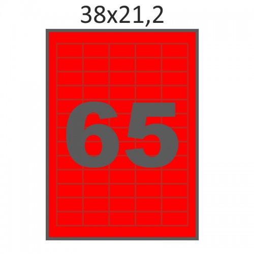 Самоклеющаяся бумага А4 (100 листов) /65/  (38x21 мм) красная
