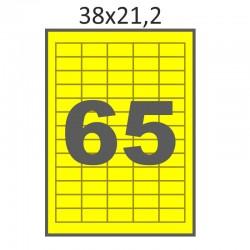 Самоклеющаяся бумага А4 (100 листов) /65/  (38x21 мм) желтая