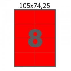 Самоклеющаяся бумага А4 (100 листов) /8/  (105x74 мм) красная