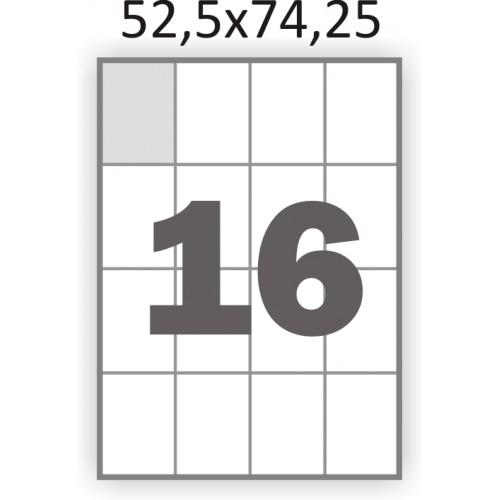 Самоклеющаяся бумага А4 (100 листов) /16/  (52,5x74,25мм.)
