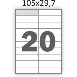 Самоклеющаяся бумага А4 (100 листов) /20/  (105x29,7мм.)