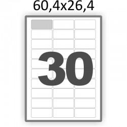 Самоклеющаяся бумага А4 (100 листов) /30/  (60,4x26,4мм.) закругленные углы