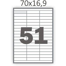 Самоклеющаяся бумага А4 (100 листов) /51/  (70x16,9 мм)