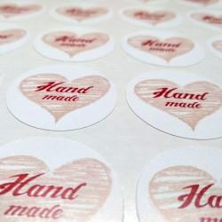 """Этикетка, круг 32 мм., """"Hand Made"""", (22 шт.)"""